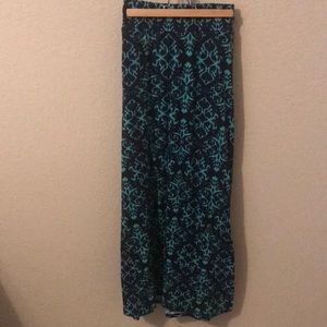 Navy and green maxi skirt